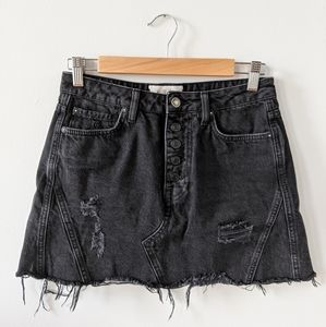 Free People Distressed Black Denim Mini Skirt